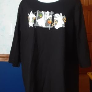 Halloween black knit shirt with ghosts. Plus size